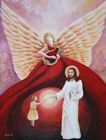 Angel & Jesus Painting by Diane Daversa, spiritual art, God art, angel art, jesus art, diane daversa art