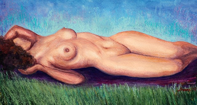 Nude on grass painting by diane daversa, figurative art, figurative painting by Diane Daversa, diane daversa art, nude art