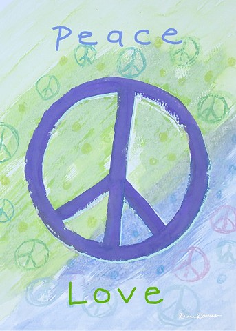 Peace Sign Painting by Diane Daversa, inspirational art, peace sign art, boho art, diane daversa art