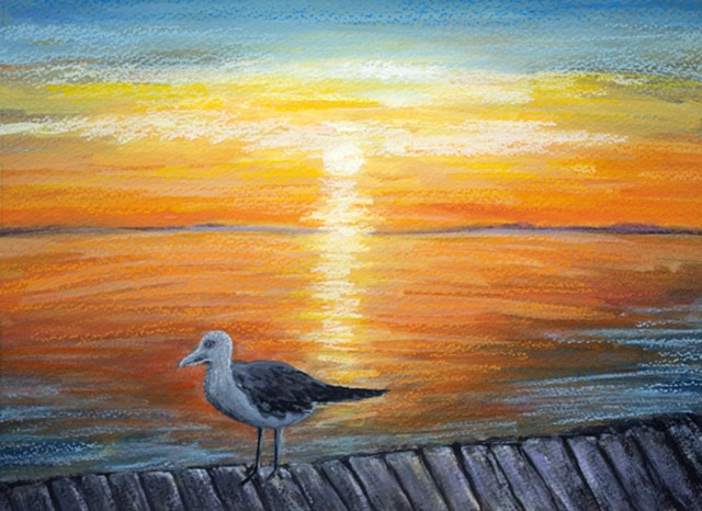 Seagull painting, Seascape, sunset painting by diane daversa, ocean beach dock Diane Daversa art