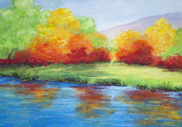 Fall Lake Scene Landscape Diane Daversa, lake painting, fall painting, diane daversa art