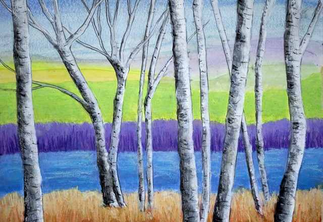 Birch Trees Landscape painting by Diane Daversa, birch trees, diane daversa art