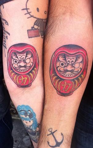 daruma doll tattoos by Sadie Kennedy, Rose Golds Tattoo, San Francisco