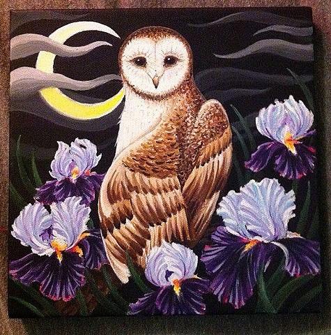 owl and irises iris flower painting art by Sadie Kennedy, Rose Golds Tattoo, San Francisco