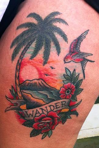 old school traditional island scene tattoo by Sadie Kennedy, Rose Golds Tattoo, San Francisco