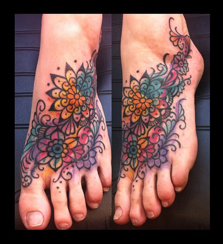 mehndi tie dye coverup tattoo by Sadie Kennedy, Rose Golds Tattoo, San Francisco