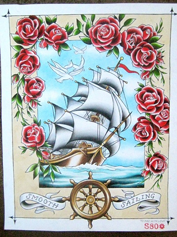 old school ship and roses painting by tattoo artist Sadie Kennedy, Sweet Trade Tattoo, Lahaina, Maui