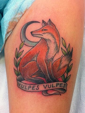 vulpes vulpes fox moon tattoo by Sadie Kennedy, Rose Golds Tattoo, San Francisco
