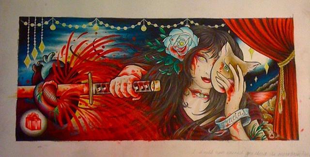 painting by tattoo artist Sadie Kennedy, Sweet Trade Tattoo, Lahaina, Maui