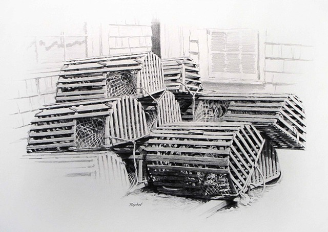 Maine Lobster Pots Drawing
