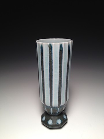 Black and Blue Stripe Diamond Flute Composite Cup