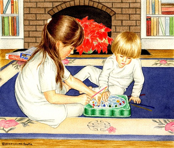 Two children playing quiet game on rug.