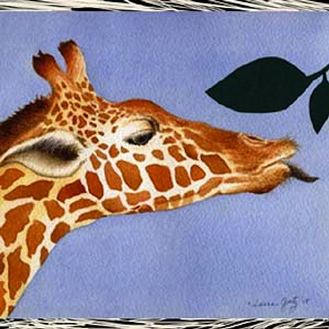 Laura Goetz bold color illustration of 1 Giraffe reaching for leaves, counting Board Book.
