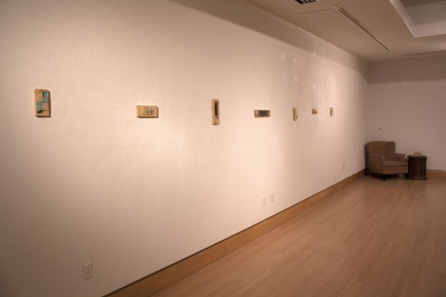 "Gallery shot of ""Nondescript"" series  and ""Please, hold"" piece."
