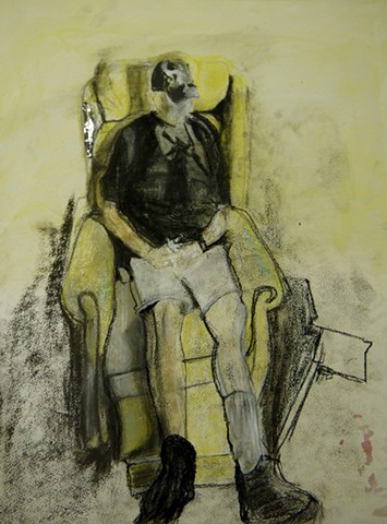 This is a piece done using NuPastel that pictures an older gentleman sitting in a recliner while light pours on his face