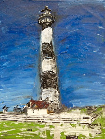 This contemporary art piece by Steven Tannenbaum of StructureSlash Modern Assemblage Art uses acrylic paint, collage, and found objects to create a scene with a lighthouse and a house on grass
