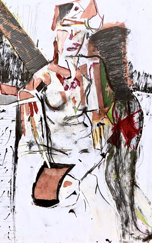 """Figuring (reflection)"" is a modern art style figure painting using assemblage & collage to create a portrait of a woman sitting with one leg up and looking straight at the viewer."