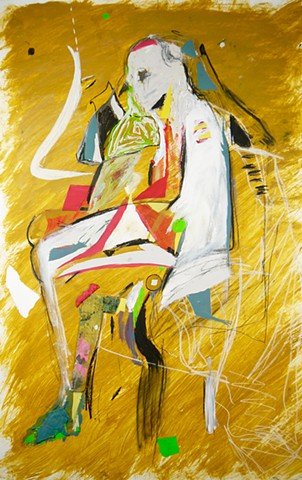 Acrylic abstract figure painting by Steven Tannenbaum on paper with mixed media and collage