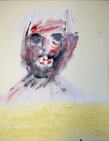This piece uses acrylic paint and charcoal to create a self portrait of Steven Tannenbaum