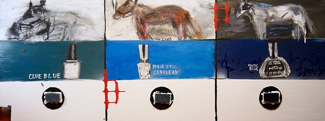 A painting by Steven Tannenbaum of racehorses / horses, nail polish colors, and carpet samples along with found objects and charcoal create an interesting comparison tools for horse names, nail polish names, and designer samples.  How do names relate to e