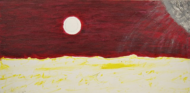 A piece of art by Steven Tannenbaum using acrylic paint, and pencil (drawing of a smoke ring) to depict a sea scene but with wacky, mixed up colors (red sky, yellow sea, grey sun).