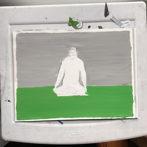 This is a painting of a person doing yoga or meditating with the mat and background being different unusual colors