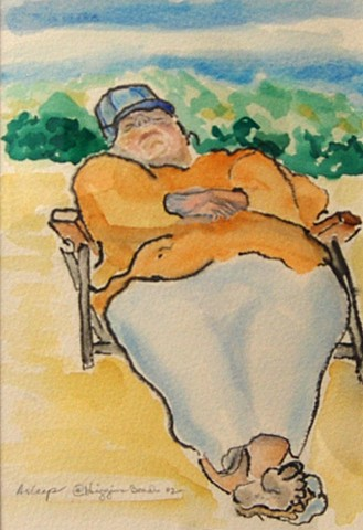 Higgins Beach, Maine, watercolor, Arthur Nichols, Notebook Show