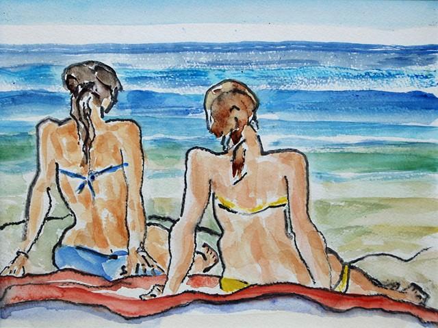 Bathing Beauties on Scarborough Beach, Maine