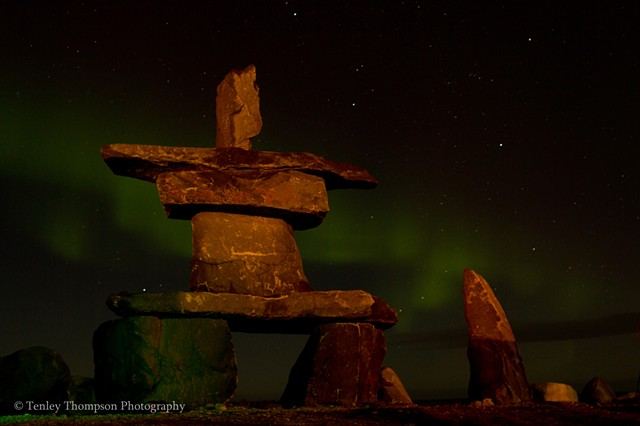 Inukshuk, Northern Lights, Aurora Borealis