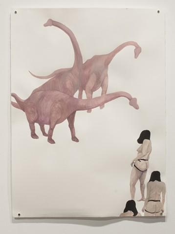 Armed Women Encountering a Pack of Blind Phallosauruses (version 2)