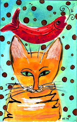 Cat with a Red Fish
