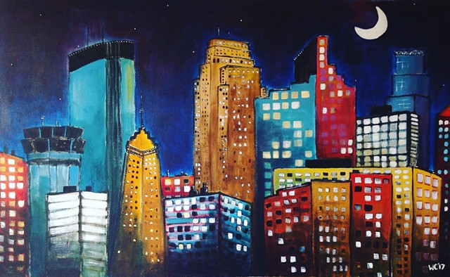 """Moon Over Minneapolis"" (SOLD-PRINTS AVAILABLE)"