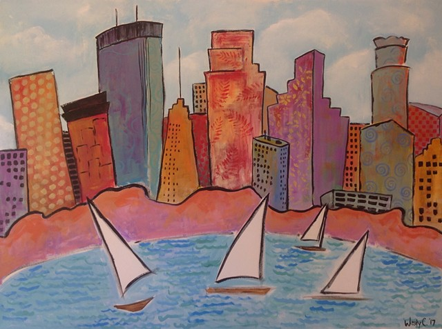 Original painting Minneapolis skyline