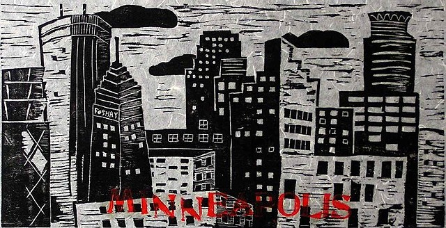 Minneapolis Woodcut