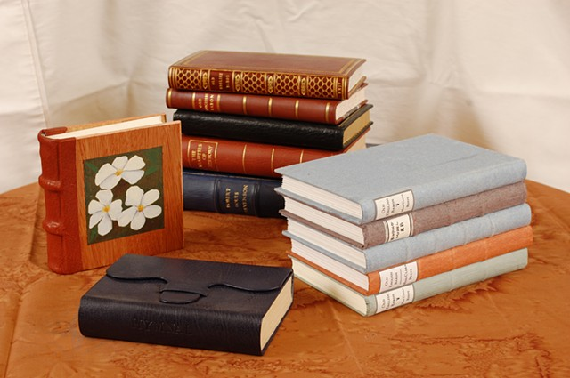 Leather bound books and binding models