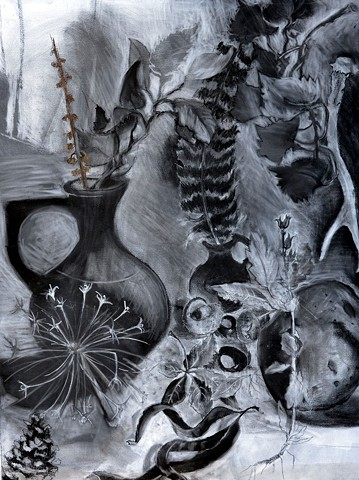 charcoal drawing of natural objects
