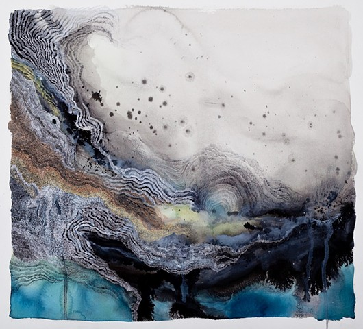 Watercolor, ink, gouache, gel pen, graphite, color pencil on paper. Inspired by gulf oil spill