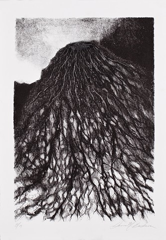 lithograph print abstract inspiration from Javanese volcano