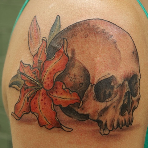 skull and lily