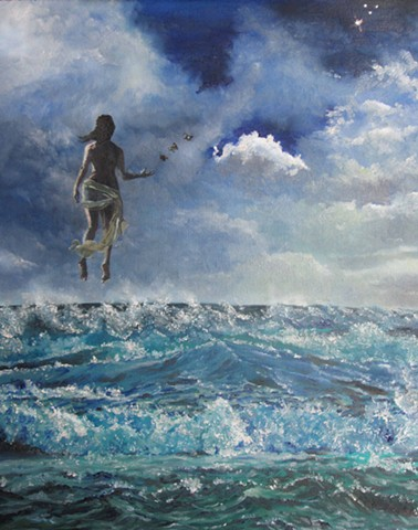 Transcend,water,waves,woman floating,storm,woman and sea,raging sea,water,butterfly,stars,
