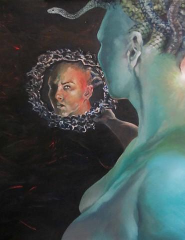 Medusa,snakes,snake lady,mythology,last glance,frozen stare, Beautiful woman, snake head, Medusa stare,cold stare,mirrors,greek mythology