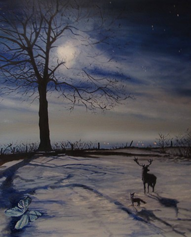 stag,fox,butterfly,snowscene,moonlight,staginsnow,night,bluebutterfly,animalsinsnow