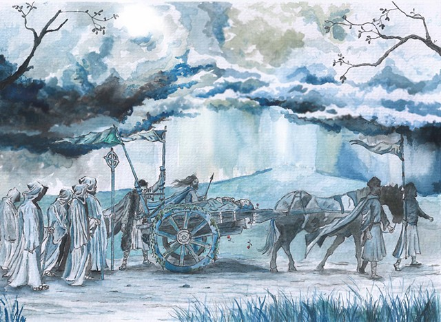 Brian Boru's Wake 1014 ,The Brian Boru Collection , Artist Warren Faye,swords village,Brian Borus death