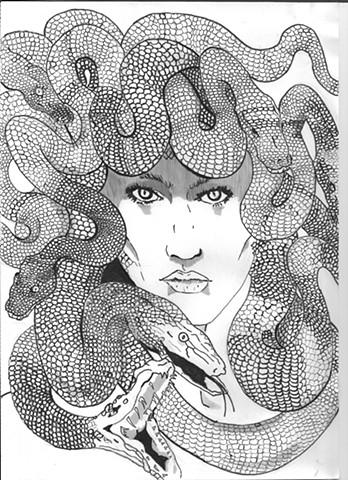 Medusa , Artist Warren Faye,snakes,stone,snake hair,turn to stone,medusas stare