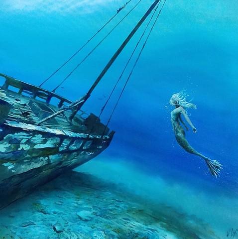 mermaids,shipwreck,beautiful mermaid,mermaid paintings,underwater painting,