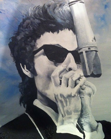 A young Bob Dylan,harmonica,blue,60s,Oil Dylan, Painting of Dylan.