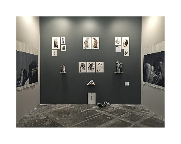 Installation view of Denial of Loss: The Romance of the Fragment (and Revival of The Stone and The Mountains Where They Belonged) at ArtBo - International Art Fair of Bogotá.