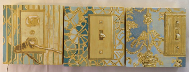 Trompe l'oeil paintings of delft style tiles with contemporary scenes. Maine artist, Kathy Weinberg