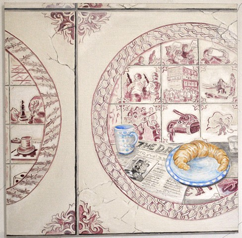 trompe l'oeil delft tiles with contemporary scenes