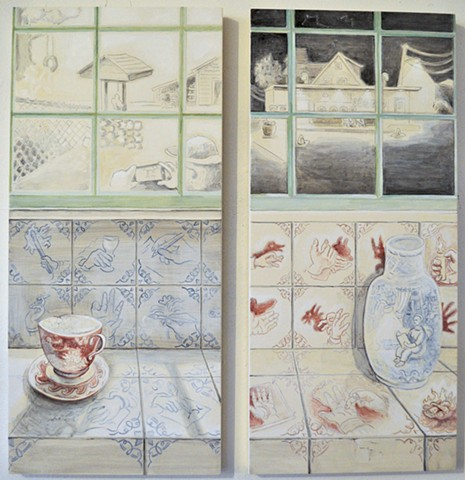 trompe l'oei paintings of faux Delft-style tile, still life and vignettes of contemporary scenes/life by Maine artist, Kathy Weinberg